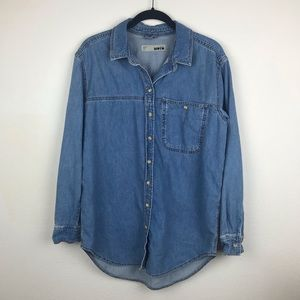 Topshop | Blue Oversized Moto Chambray Shirt